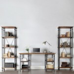 twin shelves and a desk vintage industrial bookcase designs