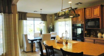 two in one mini pendant lights over kitchen island