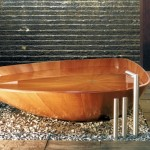 unique bath tub shape wooden bathroom designs