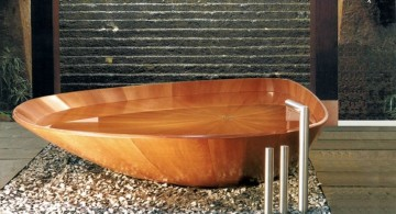 unique bath tub shape wooden bathroom designs