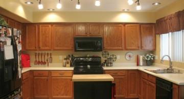 unique close to ceiling mini pendant lights over kitchen island