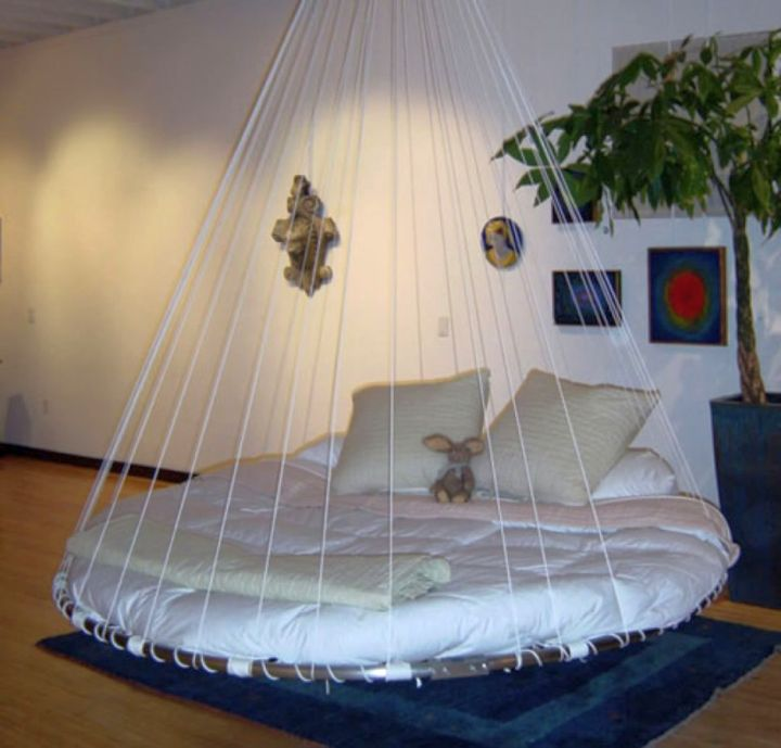 unique hanging circular bed