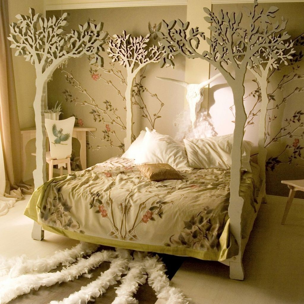 unique tree branch bed with white tree