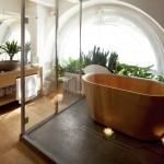 unique tub for wooden bathroom designs