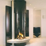 unique tube modern fireplace designs with glass