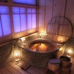 unique wooden bathroom designs with Japanese style tub