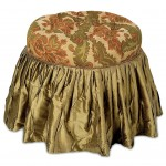 vanity chair with skirt in green and gold