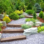 various stones for flower beds with stone stairs