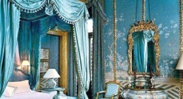 victorian era luxurious blue and gold bedroom