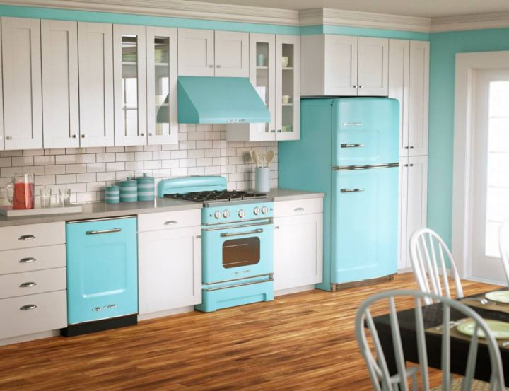 vintage and retro kitchen design in egg blue and white