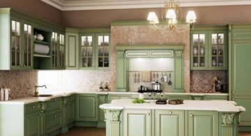 vintage and retro kitchen design in soft green