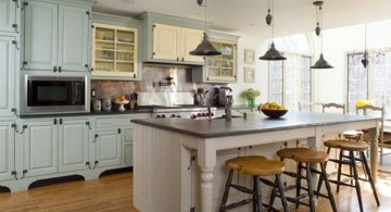 vintage and retro kitchen design in white and low mini pendant lamps