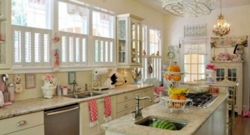 vintage and retro kitchen design with all white cabinets