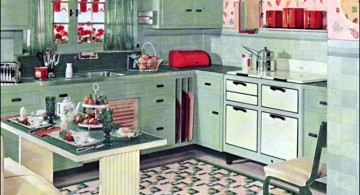 vintage and retro kitchen design with blue cabinets and flower curtains