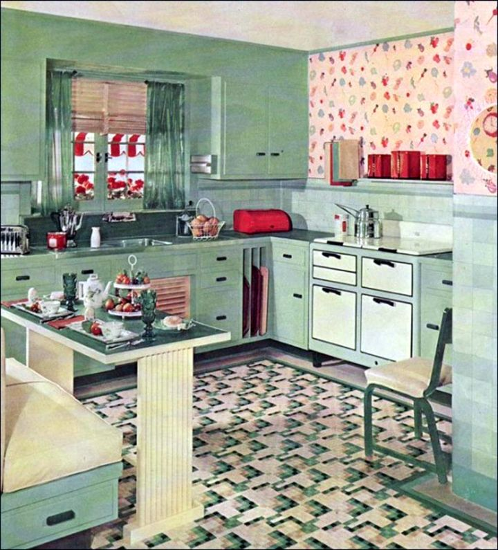 So, What Do You Think About Vintage And Retro Kitchen Design With Blue  Cabinets And Flower Curtains Above? Itu0027s Amazing, Right? Just So You Know,  ...