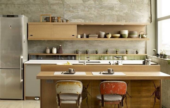 vintage and retro kitchen design with contemporary kitchen set