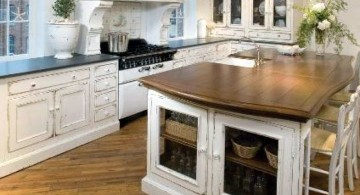 vintage and retro kitchen design with laminated kitchen island