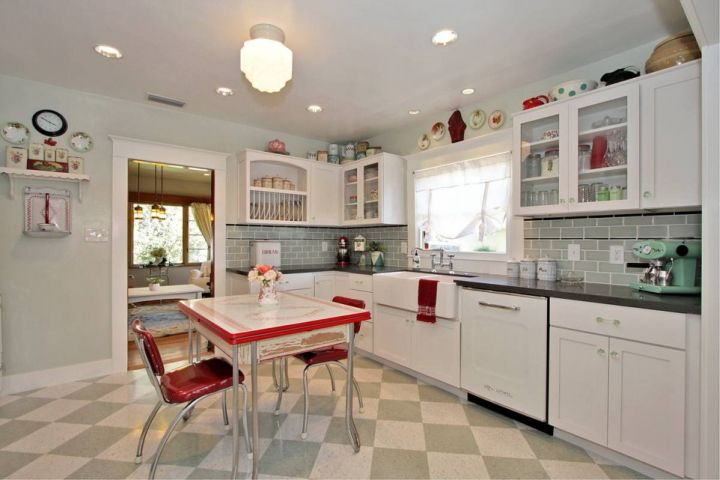 vintage and retro kitchen design with linoleum table for small kitchens