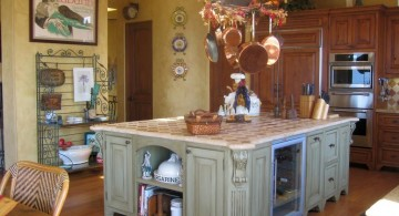 vintage and retro kitchen design with tiled kitchen island top