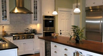vintage and retro kitchen design with varnished countertop and white cabinet