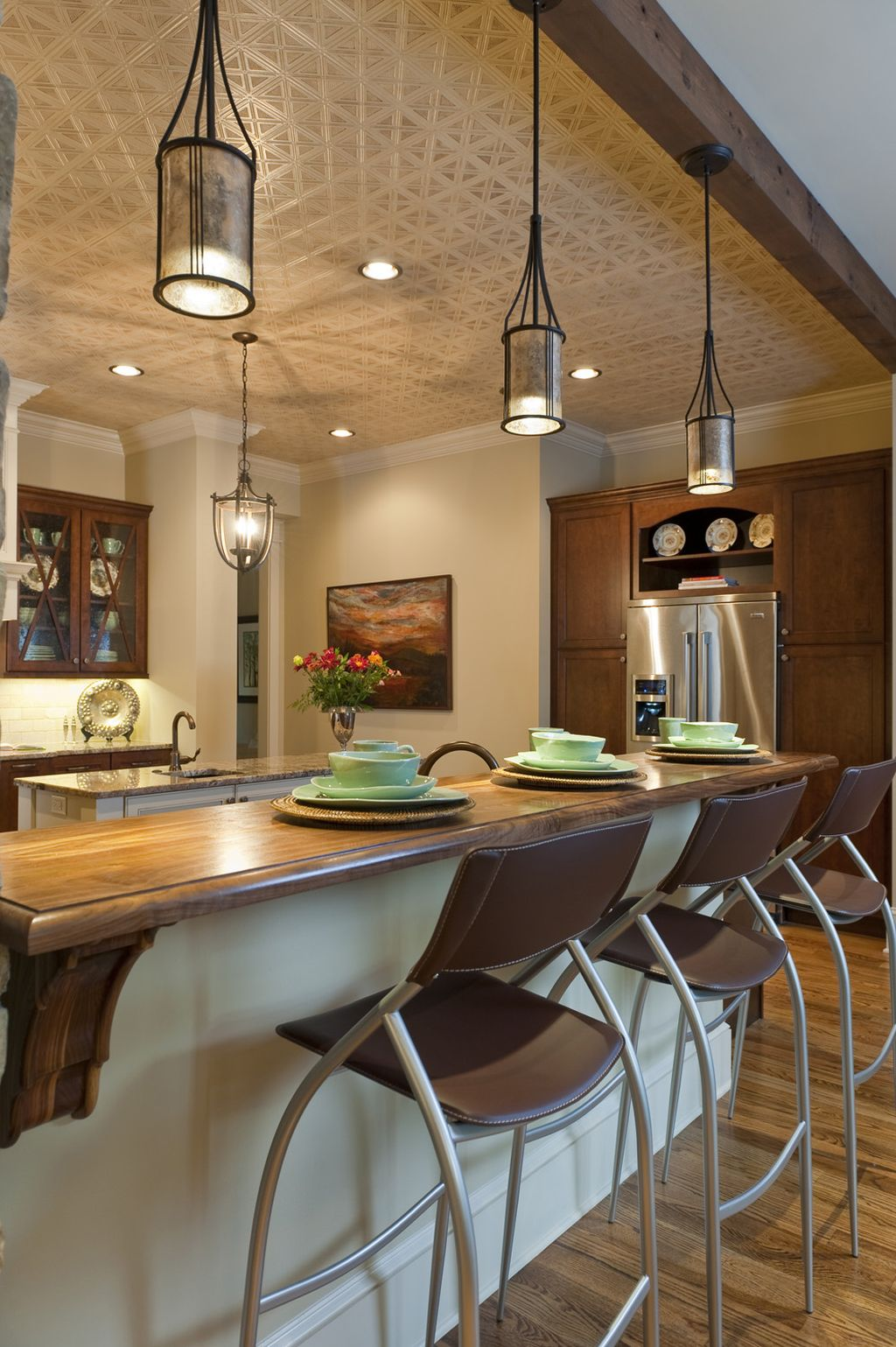 Vintage case mini pendant lights over kitchen island kitchen ...