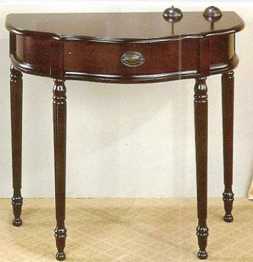 Vintage half moon small entry table ideas with single drawer Small entryway table