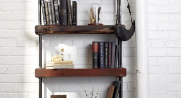 vintage industrial bookcase designs for small space