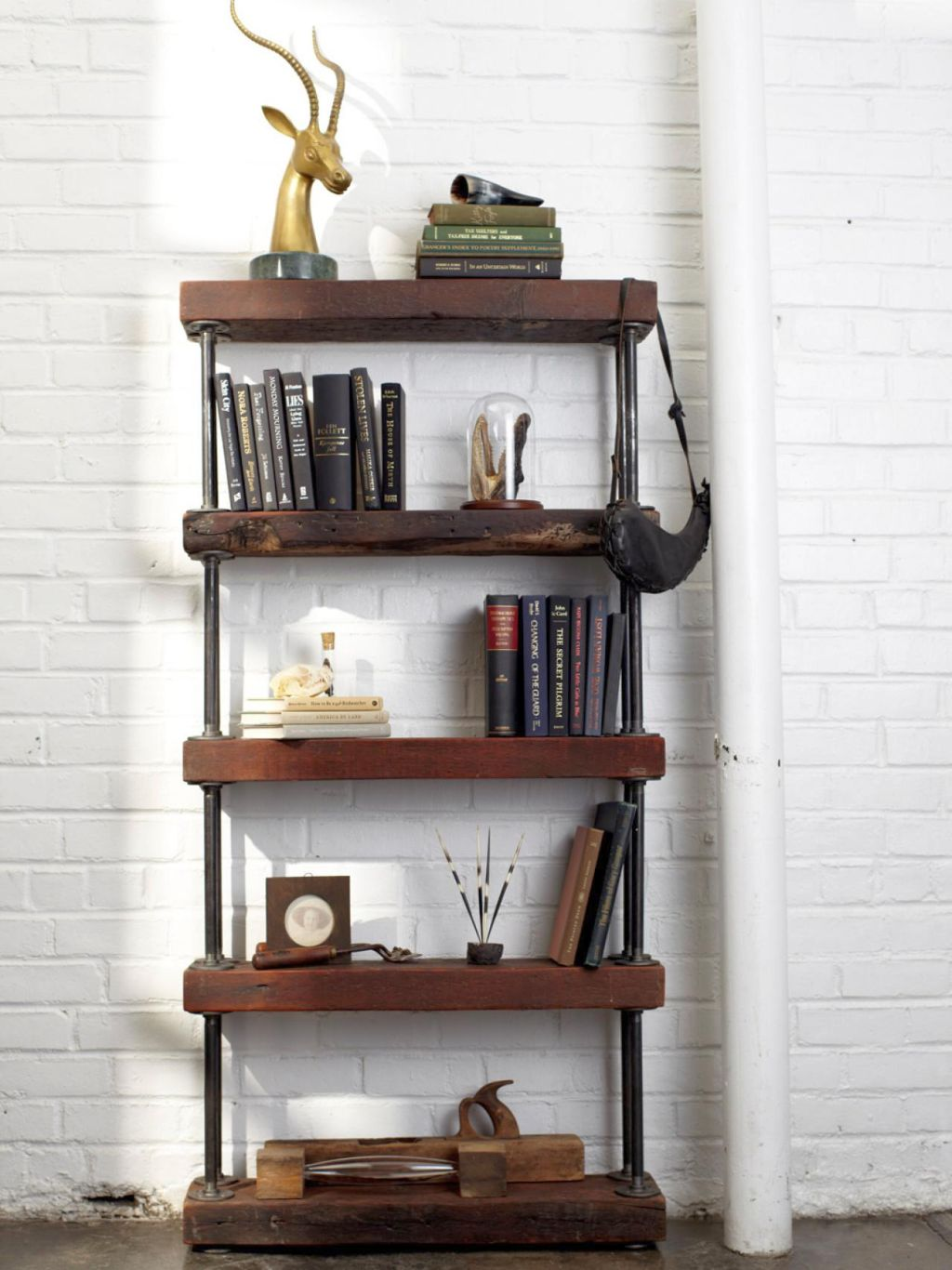 Vintage industrial bookcase designs for small space - Small bookcases for small spaces design ...