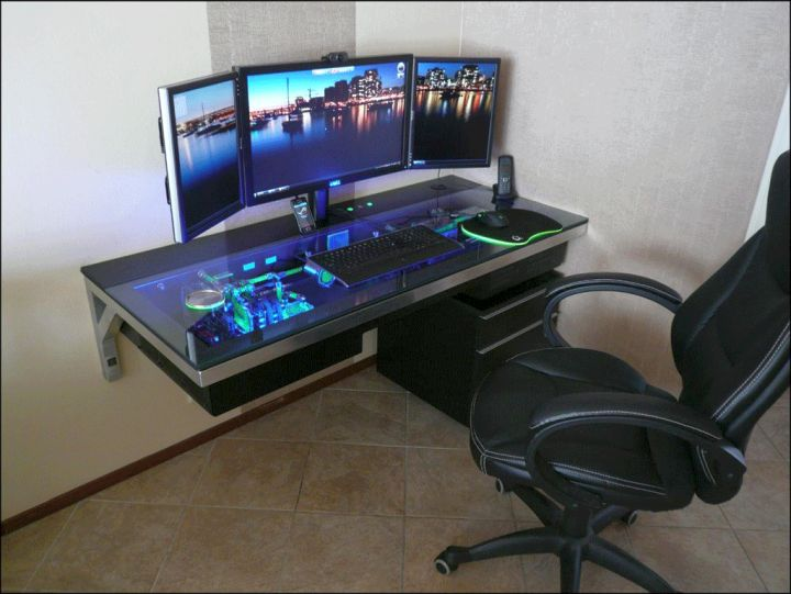 wall mounted acrylic computer desk