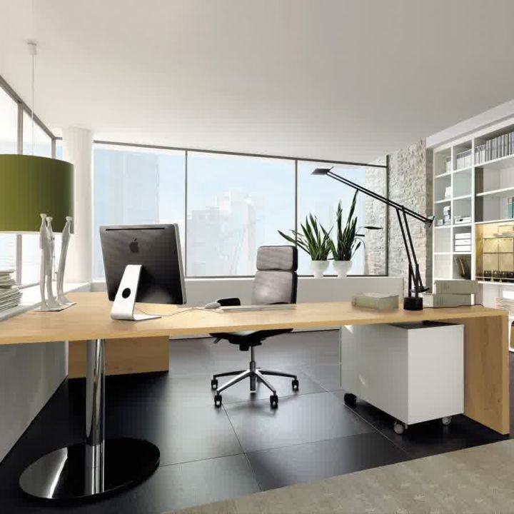 17 sleek office desk designs for modern interior for Modern office design ideas