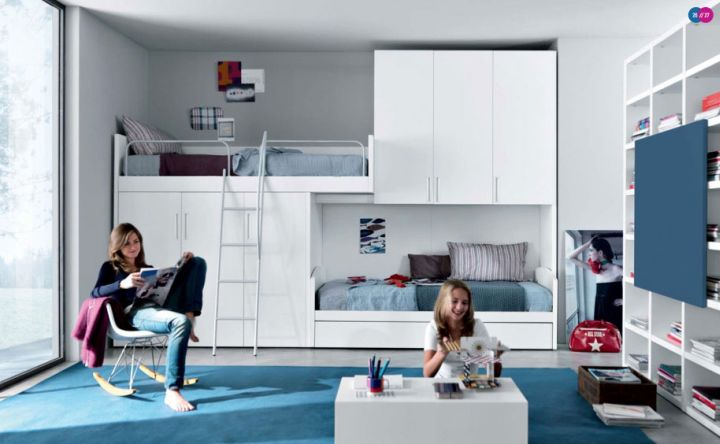 wall mounted stylish bunk beds in blue
