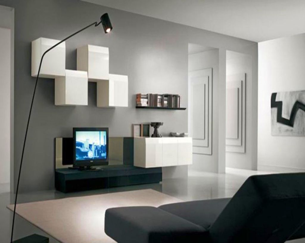 Wall shelving units for living room with zig zag cubes for Modern living room shelving units