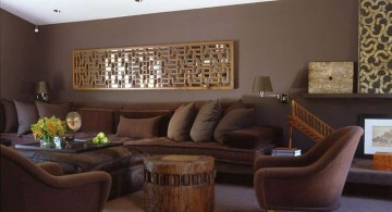 warm earth tone living room in dark colors