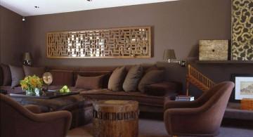 warm earth tone living room in dark colors
