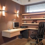 warm wooden tone small office plans