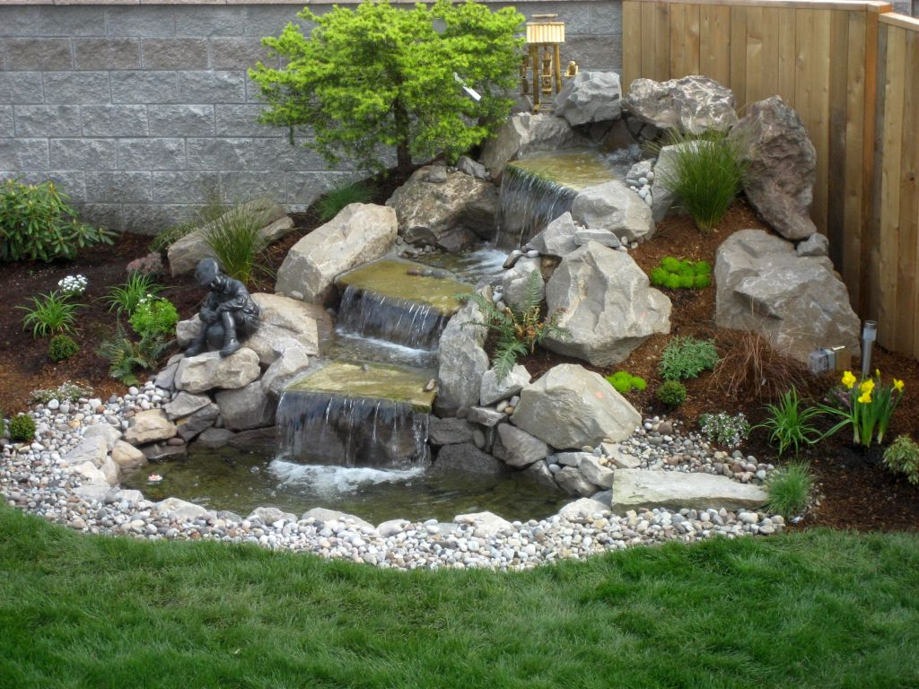 waterfall for limited space landscaping designs with big rocks