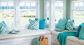 white and turquoise living room