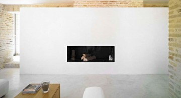 wide built in modern white fireplace design