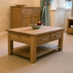 wood coffee table designs with two drawers and bottom shelf