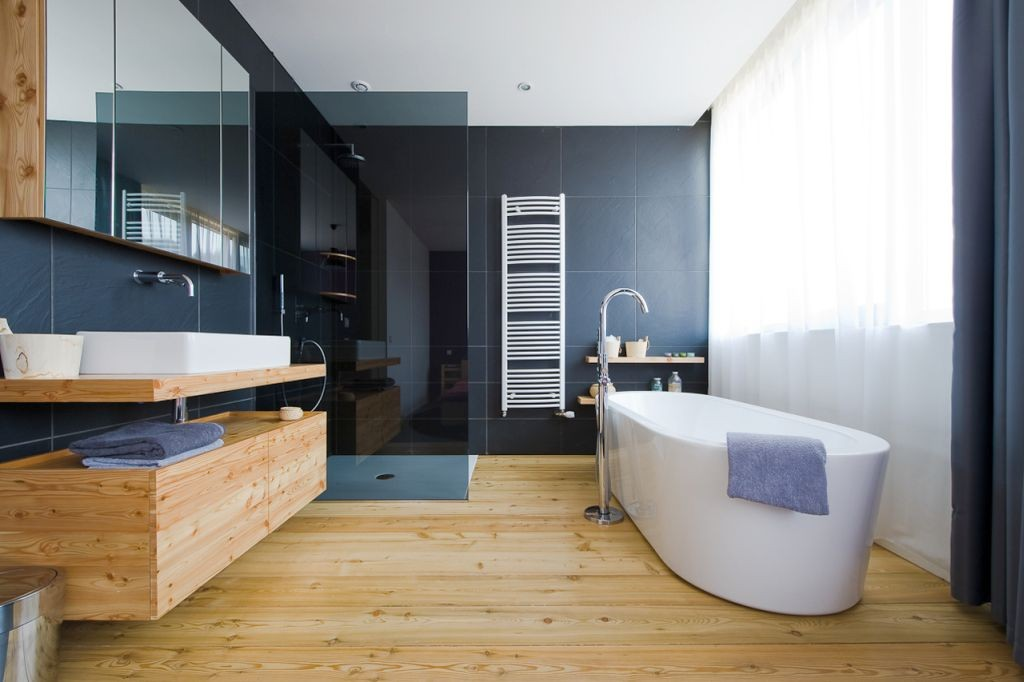 wooden bathroom designs with blue walls