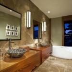 wooden bathroom designs with contemporary light