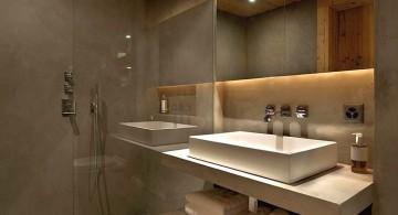 wooden bathroom designs with floating shelf