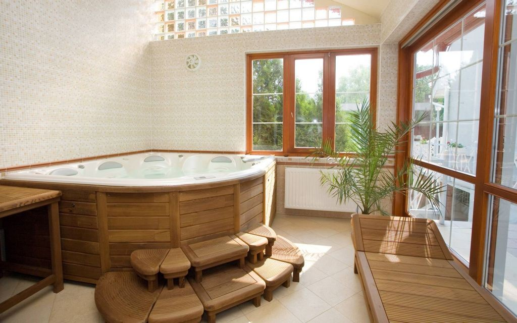 wooden bathroom designs with unique tub