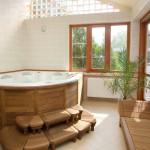 wooden bathroom designs with unique tub