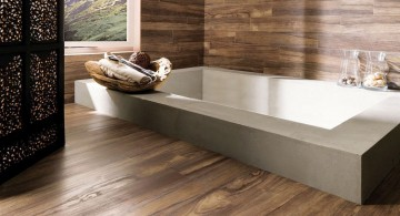 wooden bathroom designs with wide window