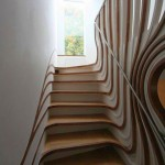 wooden staircase designs with optical illusion