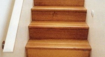 wooden stairs with storage box