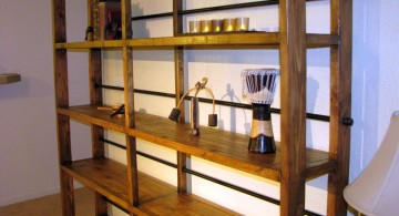 wooden vintage industrial bookcase designs