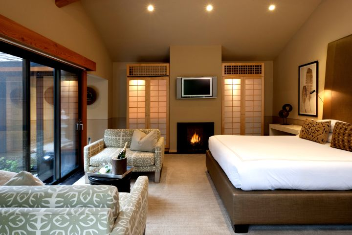 zen bedroom ideas with fireplace