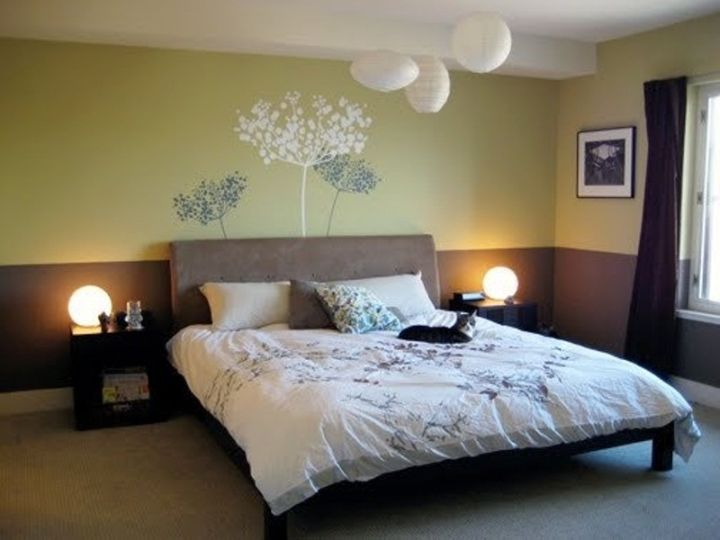 zen bedroom ideas with flower painting